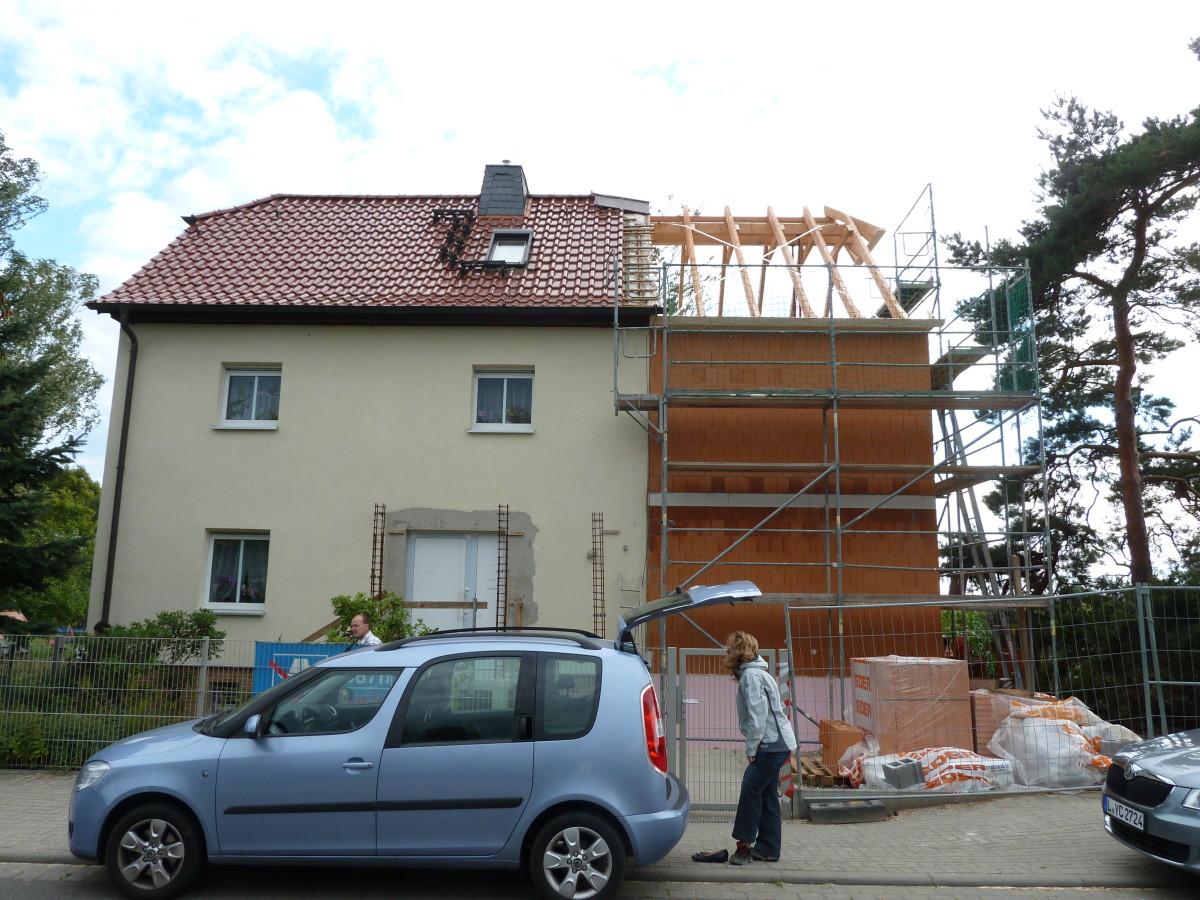 Stellen des Dachstuhls
