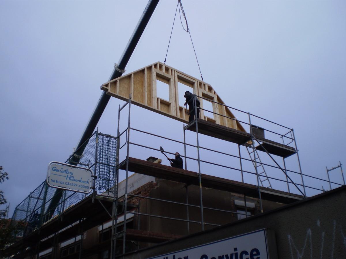 Giebelwände im Dachgeschoss in Holzrahmenbauweise