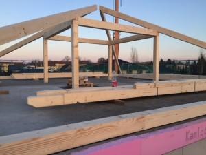 zimmermannsmäßiger Dachstuhl mit Pfettenrahmen für viel Stauraum im Spitzboden