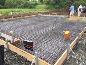 Schalung und Bewehrung Bodenplatte, Betoneinbau