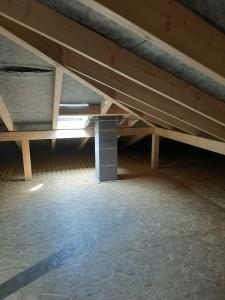 Dämmung der obersten Geschossdecke, Verlegung von OSB-Platten im nutzbaren Dachbodenbereich