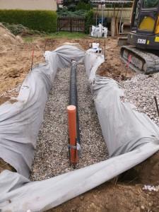 Errichtung der Rigole zur Regenwasserversickerung