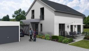 Planung Straßenansicht (Die dargestellte Garage realisiert der Bauherr in Eigenleistung).