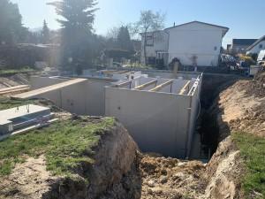 Kellerinnenwände gemauert, Vorbereitung zur Verlegung der Filigrandecken